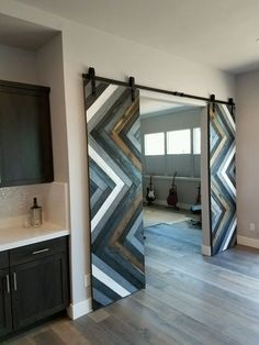 Let your doors make a statement in your home. A set of double-doors crafted by hand in a classic herringbone pattern are a work of art for any home. Doors are x each. Interior Flat, Interior Barn Doors, Interior Design, House Paint Interior, Interior Rendering, Modern Interior, Sliding Door Design, Sliding Partition Doors, Wooden Sliding Doors