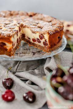 Sommerlicher Kirsch Quark Kuchen Mit Schokotupfen Quarkkuchen Ohne Boden Kuchen Kuchen Und Torten