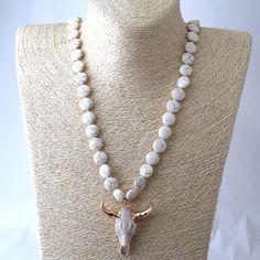 Бесплатная доставка Модные узлом плоский белый камень Рог кулон этническое колье богемный племенной ювелирные изделия