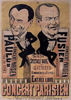 Poster by unknown artist, 1885, Concert parisien: Paulus et Fusier, Paris.