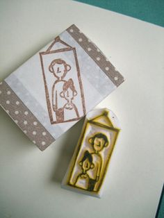 family portrait rubber stamp  hand carved rubber by talktothesun