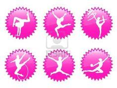 Mujeres jóvenes en la silueta de la gimnasia rítmica y ejercicios Foto de archivo - 6183442
