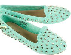 spiky mint green flats