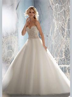 White Ball Beading Sweetheart Tulle 2013 Wedding Dresses AWD350254