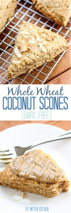 Whole Wheat Coconut Scones [Fit Mitten Kitchen] #dairyfree