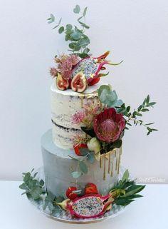 Naked wedding cake by SWEET architect - http://cakesdecor.com/cakes/284057-naked-wedding-cake