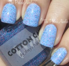 Amy's Nail Boutique: Cotton Candy (is blue and pink matte glitter)- 1 coat over Essie Bikini