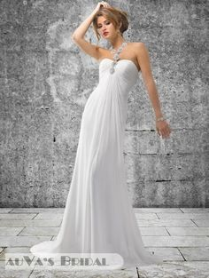 2013 Sheath / Column Style Sweetheart & Halter Neckline Sleeveless Court Train White Chiffon Wedding Gown with Beading (CWG271)