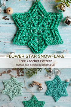 Flower Star Snowflake Pattern You'll Love, Love, Love! - You're reading Flower Star Snowflake Pattern You'll Love, Love, Love! by Knit And Crochet Daily - Crochet Snowflake Pattern, Crochet Motif Patterns, Christmas Crochet Patterns, Crochet Christmas Ornaments, Crochet Stars, Holiday Crochet, Crochet Snowflakes, Knit Crochet, Blanket Patterns
