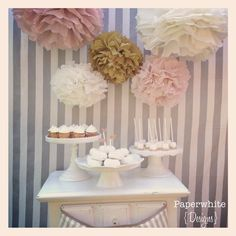 Melanie Collection- 5 pom poms- blush and gold tones/ vintage wedding/ girl baby shower decoration