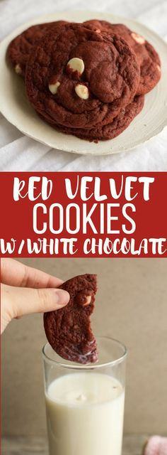 Soft, chewy, delicious red velvet cookies made from scratch! These cookies have white chocolate chips, but no cake mix!