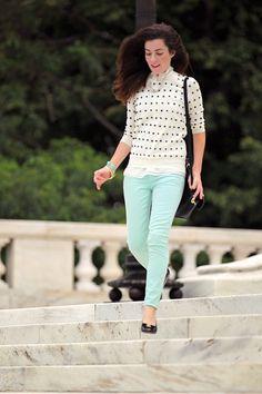 Sweater: J. Crew (similar).  Pants: J. Crew.  Shoes: Salvatore Ferragamo.  Bag: Mulberry.  Necklace: Pink Pineapple.  Bracelets: Loren Hope.  J. Crew.