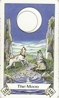 The Moon, from the Robin Wood Tarot by Robin Wood. http://www.life-plan-blog.com/2014/11/18/todays-tarot-going-instinct/