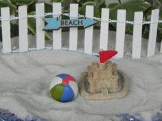 Miniature Sandcastle with Flag, Beach Ball, Sign, Fence, Fairy Garden accessories, DIY for Beach Themed Wedding, Sand Castle