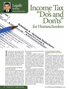 "Income Tax ""Do's and Don'ts"" for Homeschoolers  The Old Schoolhouse Magazine - March 2013 - Page 98-99"
