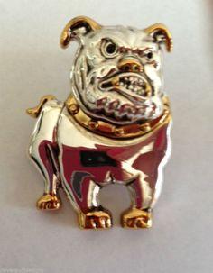 "Bulldog Pendant Pin English Pit American Dog Jewelry school mascot UGA 1.75"" L"