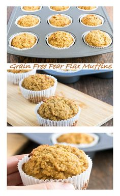 Grain Free Pear Flax Muffins! Healthy and Gluten free dessert with high protein, fiber and omega 3.