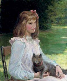 George Percy Jacomb-Hood, Junges Mädchen mit Katze