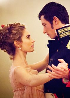Lily James & Callum Turner in 'War and Peace' (2016). x