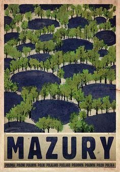 Masuria - Summer, Polish Poster by Ryszard Kaja Love Posters, Art Deco Posters, Visit Poland, Polish Posters, Summer Poster, Railway Posters, Great Paintings, Retro Illustration, Typography Prints