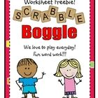 Boggle worksheet; could show Boggle cube under document camera and play as a class or with table groups