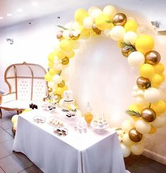 Balloons by REquest on Yellow is making a comeback against pink this summer - Custom Balloon Ring Garland Built by Us Event Planner charelleottey Venue Sunflower Birthday Parties, Baby Girl Birthday Theme, Yellow Birthday Parties, Sunflower Party, Sunflower Baby Showers, Balloon Garland, Balloon Decorations, Birthday Party Decorations, Sunshine Birthday