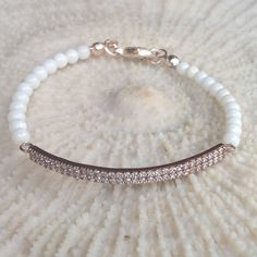 White Coral bracelet with zirconia pink sterling by CharmByIA, $35.00