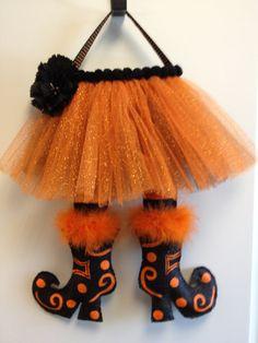 Witches Legs Burlap Door Hanger