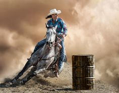 Barrel Racer 2 - Another image from my rodeo series. This is another Cowgirl competing in a barrel racing contest trying to be the best time to finish. All of these rodeo contestants are gifted athletes and a delight to watch (and shoot). by Ken Skeeters.
