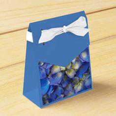 Blue Hydrangea Blooms Party Favor Boxes #flowers #partyideas #showerideas