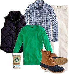 Navy gingham shirt + Kelly green sweater + navy quilted vest + cream cords + Bean boots