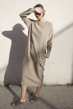 Black Crane Quilted Long Dress in Sand http://oroborostore.com