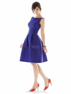 A-line Scoop Tea-length Royal Blue Stain Prom Dress at Millybridal.com