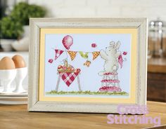 Super-sweet Easter bunny cross stitch chart