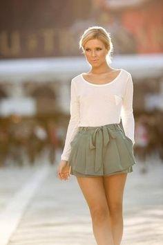 Dressy jade shorts, loose long sleeve white tee. perfecto.  FOLLOW -> Ashlee Leaman <- FOLLOW