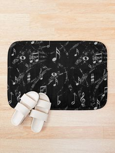 """Grey and Black Music Notes Pattern"" Bath Mat by HavenDesign 