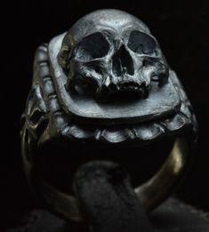 Skull ring Signet silver mens skull biker masonic rock n roll gothic handmade jewelry .925 etsy