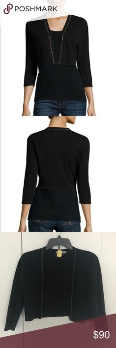 Cashmere Shrug with Chain Trim- Neiman Marcus 2-ply knit shrug with Chain trim, open front, three-quarter sleeves, cropped at midriff. Dry clean only. Has been recently dry cleaned. Has very small snag in upper left back. Neiman Marcus Sweaters Shrugs & Ponchos