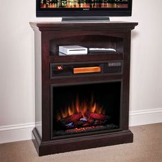 Raleigh Espresso 1,000 Sq. Ft. Infrared Electric Fireplace - A Great Unit for Small Spaces- Apartments and Condos. http://www.electricfireplacesdirect.com/products-accessories/electric-fireplace-mantel-packages/raleigh-espresso-infrared-electric-fireplace