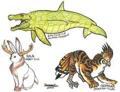 Animal Hybrids by Orcacat88 @ DeviantArt (Dolphidile, Dolphin + Crocodile; Ralk, Rabbit + Elk; Cockager, Cockatoo + Tiger)