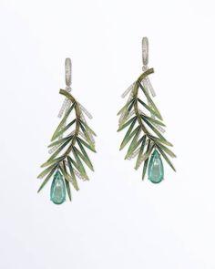 Ilgiz F. gold, diamonds, emeralds and enamel earrings