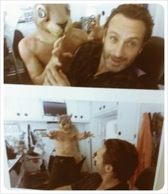 Norman Reedus (squirrel mask) and Andrew Lincoln -   Twitter / Recent images by @wwwbigbaldhead