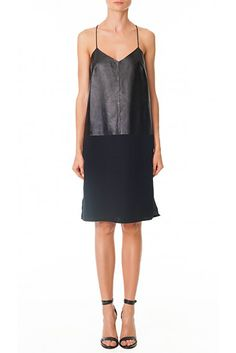 Tibi SILK & LEATHER SLIP DRESS