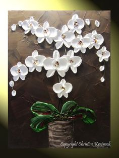 "White Orchid Painting, ORIGINAL Fine Art, Modern, Abstract Textured Paintings White Orchids, White Orchid Flowers ""Elegance"" Home Decor, Holiday, Winter, Wall Art, by Contemporary Artist Christine Krainock"