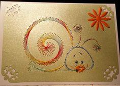 Fadengrafik Grußkarte neutral Schnecke 01  von Rene´s Fadengrafiken auf DaWanda.com