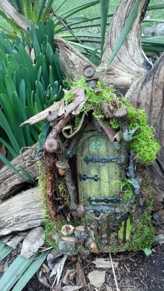 Etsy の Curled Mossy Awning Fairy Door and House by CindiBee