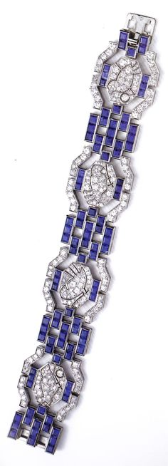 An Art Deco platinum, sapphire and diamond bracelet, by Tiffany & Co., 1925-30. Singed Tiffany & Co., with French assay mark for platinum. Source: Bejewelled by Tiffany 1837-1987. #Tiffany #ArtDeco #bracelet