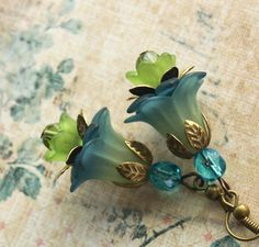 Teal and Green Flower Earrings-lucite lime green, deep teal, light teal-layered with antique brass petals, bead caps and czech glass beads