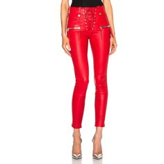Unravel Lace Front Leather Skinny Pants (16.340 NOK) ❤ liked on Polyvore featuring pants, leather, lace-up pants, zip pants, leather zipper pants, red pants and skinny trousers