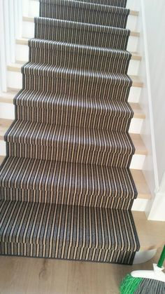 Love the look and performance this wool blend carpet offers.  Imported carpet is fabricated into a stair runner with serged edges. Purchase at Hemphill's Rugs & Carpets Costa Mesa / Newport Beach, CA
